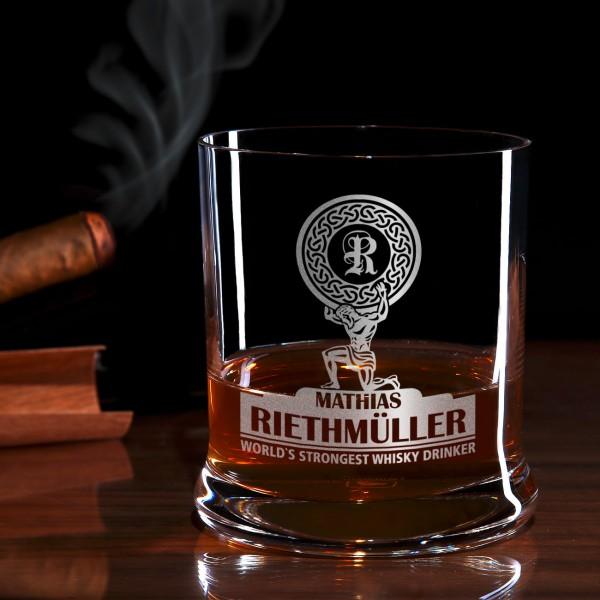 World's Strongest Whisky Drinker Whiskeyglas mit Gravur