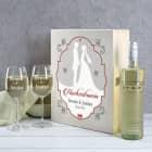 Hochzeitswein mit 2 gravierten Gläsern in edler Holzbox
