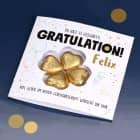 Gratulation, du hast es geschafft! - Glückwunschkarte mit Lindt Schokoladen-Kleeblatt