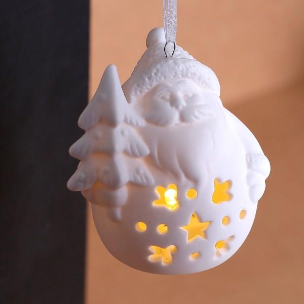 Keramik - Weihnachtsfigur mit LED Weihnachtsmann mit Tannenbaum