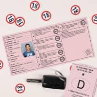 Geburtstagsschein zum 18. mit scherzhaften Texten in Führerscheinoptik