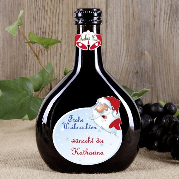 Bocksbeutel Wein mit Ihren Weihnachtsgrüßen - Weihnachtsmann
