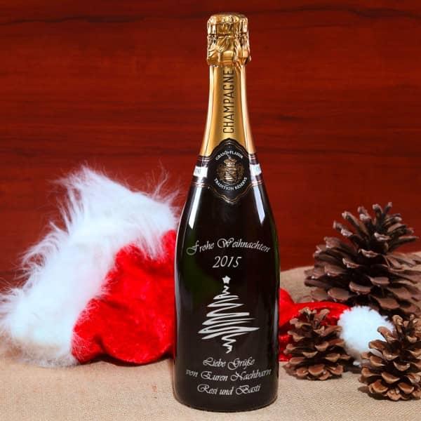 Das persönliche Weihnachtsgeschenk! Champagnerflasche mit Gravur  in silber