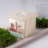 Frühlingshaftes Teelicht mit Ihrem Foto als Geschenk zu Ostern