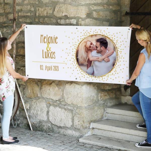 Persönliches Fotobanner zur Hochzeit