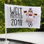 Autofahne mit WM-Knuddelhorn und Jahr