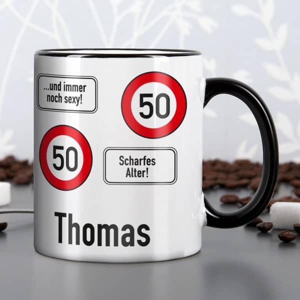Tasse zum 50. Geburtstag mit Namen