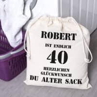 Alter Sack Zuziehbeutel zum 40. Geburtstag in 2 Größen