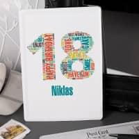 Geburtstagskarte aus Blech mit Name zum 18. Geburtstag