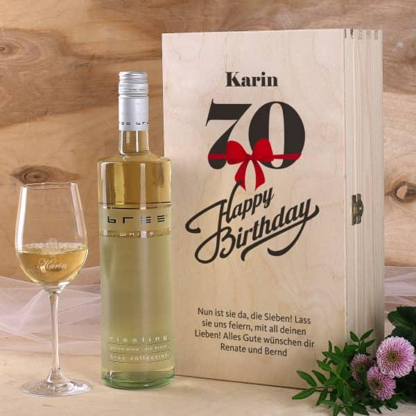 Persönliches Wein Set Zum 70 Geburtstag Mit Graviertem Glas Und Flasche