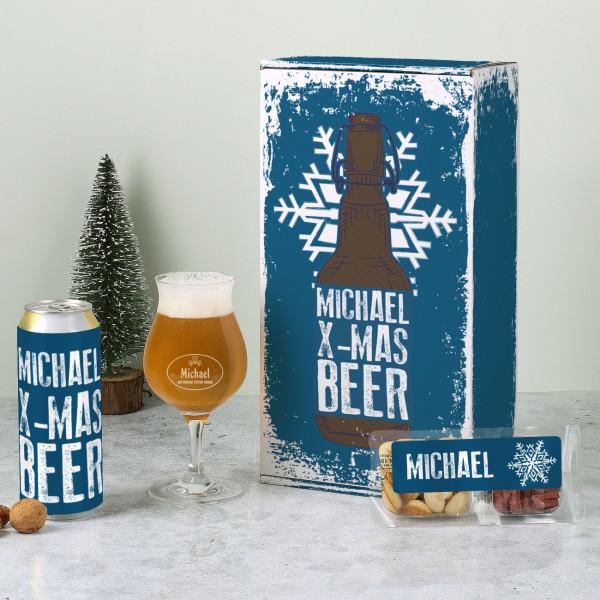 Weihnachtliches Bierset für Männer mit Ihrem Wunschnamen