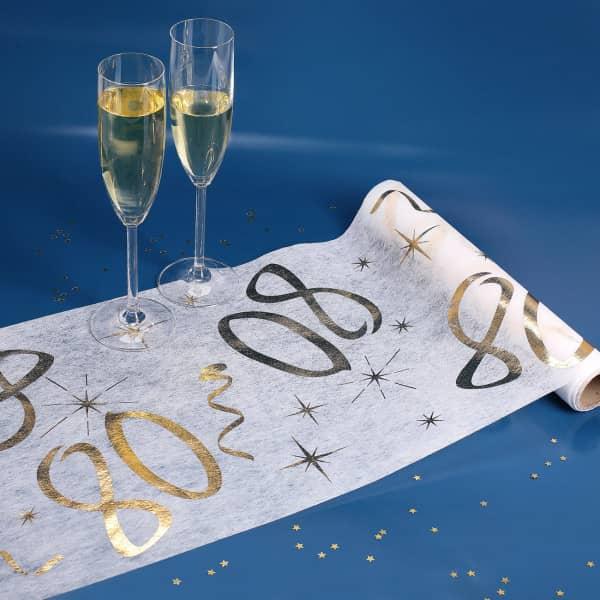 Tischläufer zum 80. Geburtstag in weiß und gold