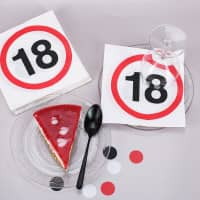 Servietten mit Verkehrszeichen zum 18. Geburtstag