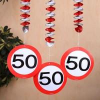 Spiral Dekoration Verkehrsschild 50