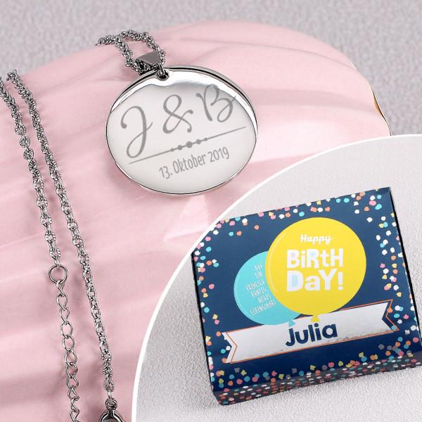 Individuellschmuck - Gravierte Halskette in 3 Farben und Persönlicher Geburtstagsbox - Onlineshop Geschenke online.de