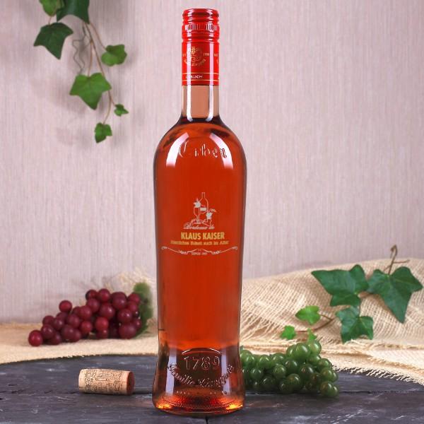 Weinflasche mit edler Gravur, Wunschname und Geburtsjahr in gold und silber