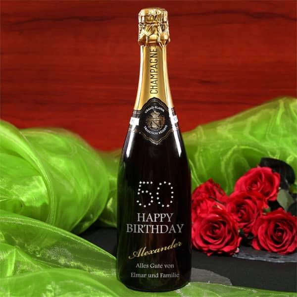 Geburtstagsgeschenk zum 50. Geburtstag Champagner mit Swarovskikristallen veredelt