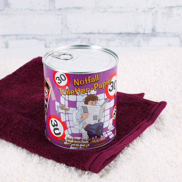 Notfall Toilettenpapier in der Dose zum 30.Geburtstag