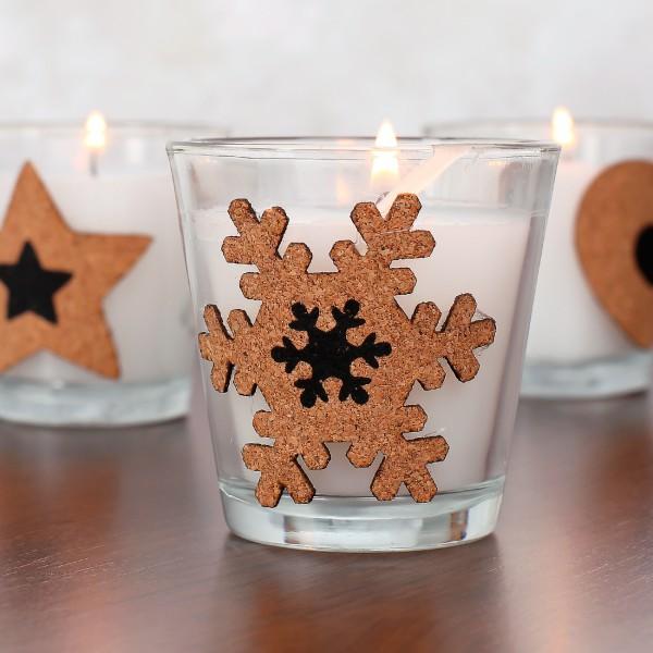 Duftkerze im Glas mit Kork - Schneeflocke