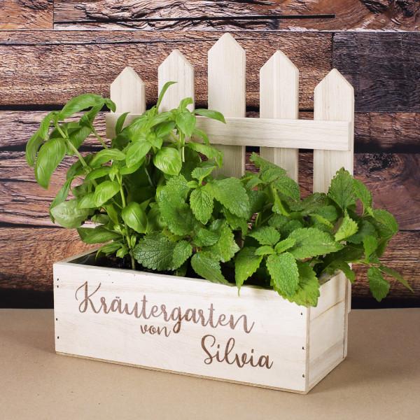 Gravierter Holzkorb als Kräutergarten