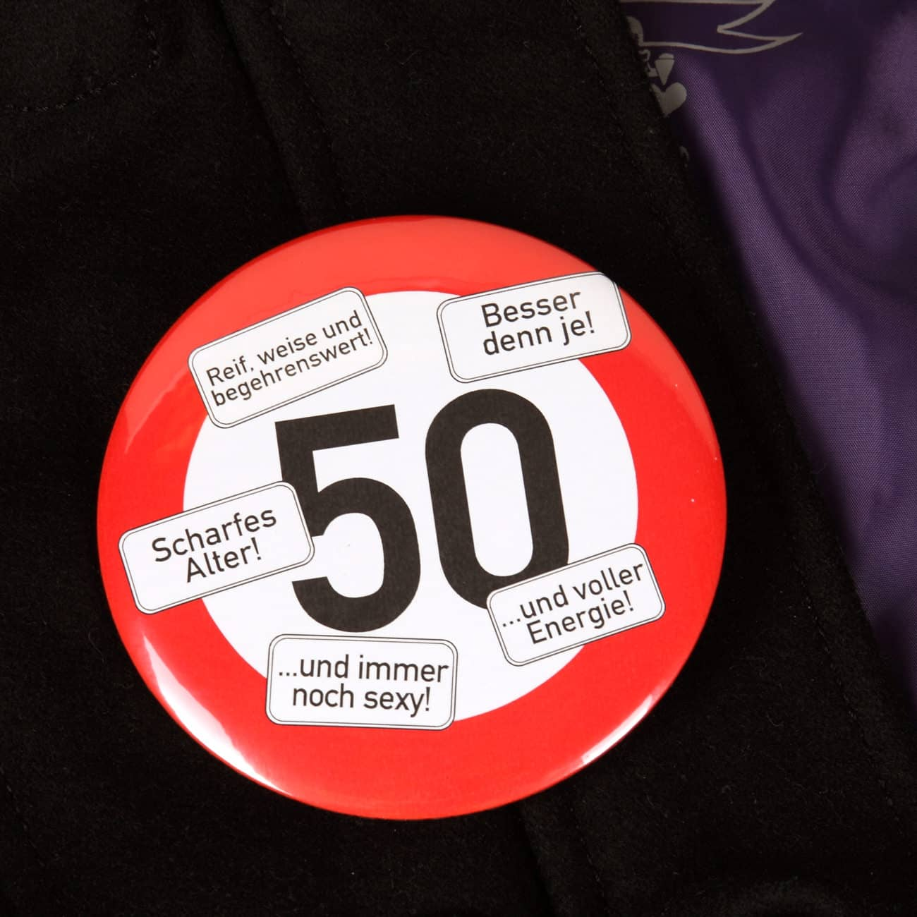XXL Button | Riesen-Button Verkehrsschild 50 | geschenke