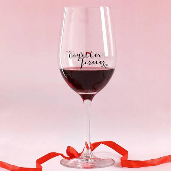 - Bedrucktes Rotweinglas für Paare zum Valentinstag Together Forever - Onlineshop Geschenke online.de