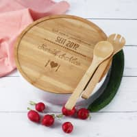 Salatschale XXL mit Bambusbrett und Besteck zur Hochzeit