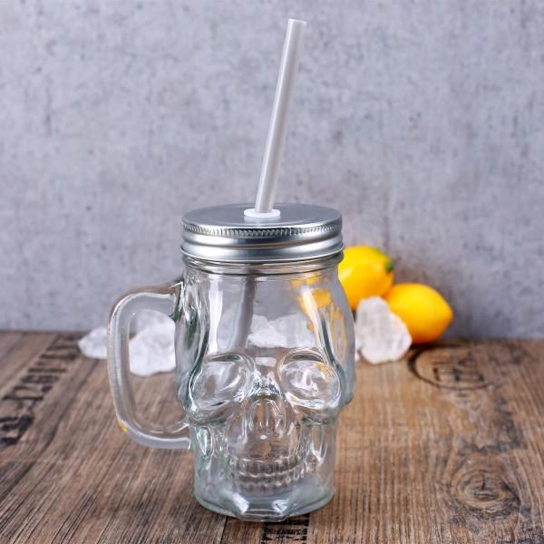 Mason Jar mit Schraubdeckel und Trinkhalm im Totenkpfdesign