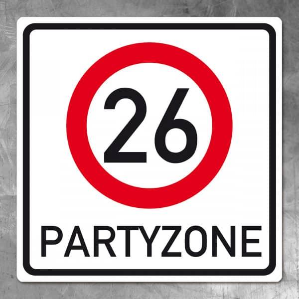 Verkehrsschild zum 26. Geburtstag