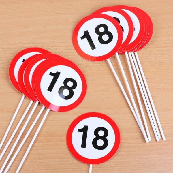 Mini Verkehrschilder Partydeko 18. Geburtstag