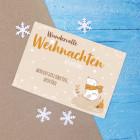 Postkarte - wundervolle Weihnachten aus der Ferne - mit niedlichem Eisbär und Ihrem Wunschtext