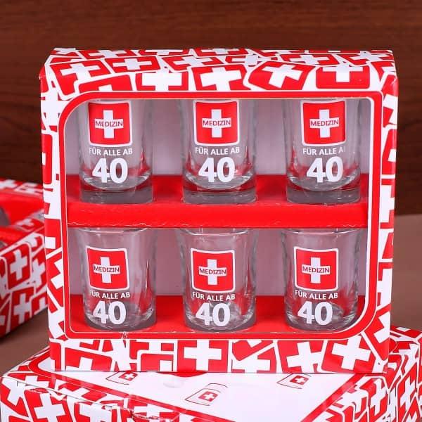 Schnapsgläser zum 40. Geburtstag im 6er Set