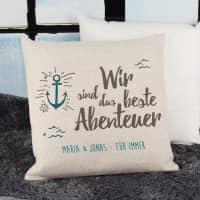 Leinenkissen - Wir sind das beste Abenteuer - mit Wunschtext