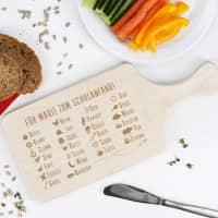ABC Frühstücksbrett zum Schulanfang mit Wunschtext graviert