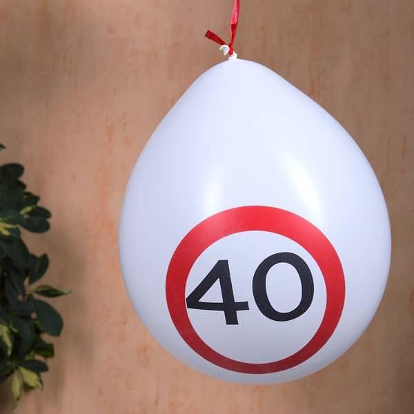 Luftballons Verkehrsschild zum 40. Geburtstag