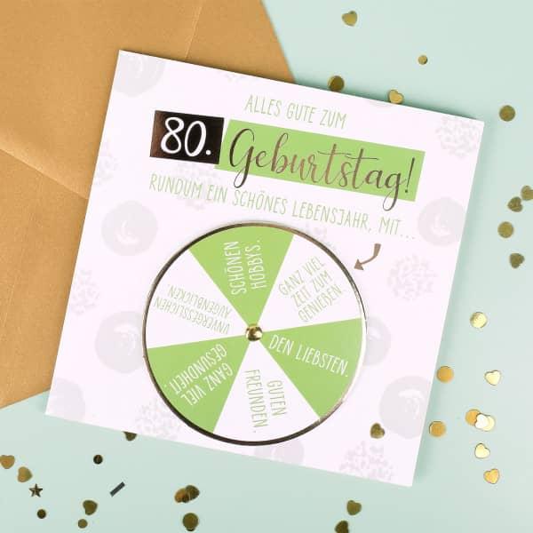 Glückwunschkarte mit Drehscheibe zum 80. Geburtstag