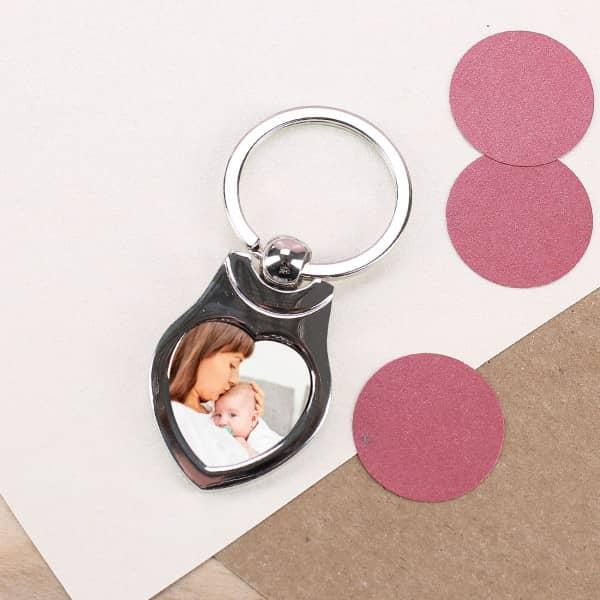 Schlüsselanhänger aus Metall zum Muttertag mit Foto