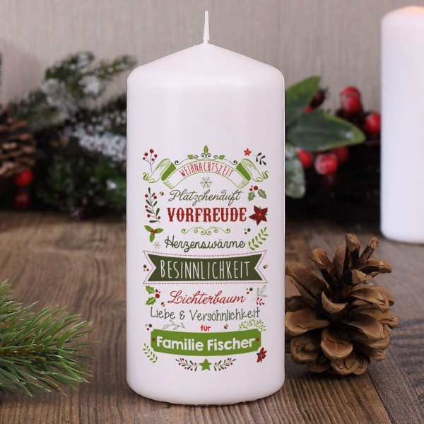 Weihnachtskerze mit Name und Wünschen
