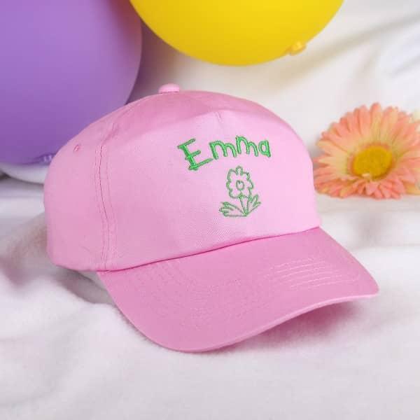 Basecap mit Wunschnamen für Mädchen, Blume