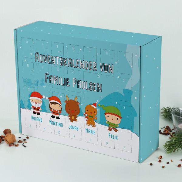 Adventskalender mit niedlichen Weihnachtsfiguren zum selber Füllen