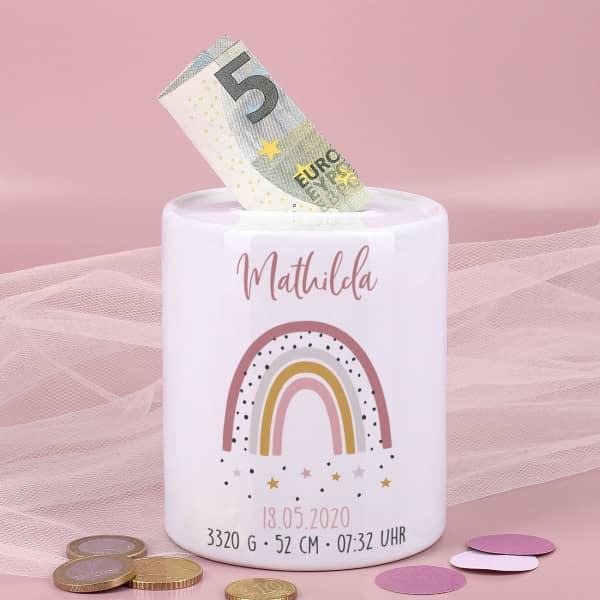 Spardose mit Regenbogen zur Geburt für Mädchen