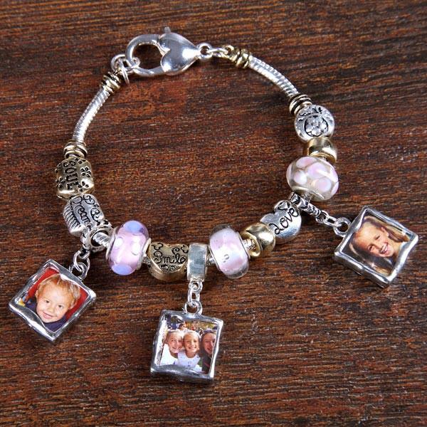 Charm-Armband mit 3 Fotoanhängern in Rosa, Silber und Gold