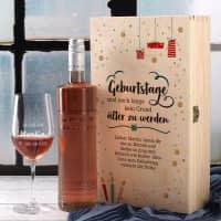 Wein-Set zum Geburtstag mit graviertem Glas in edler Holzverpackung