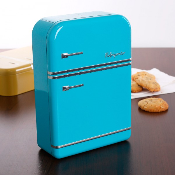 Keksdose Kühlschrank blau