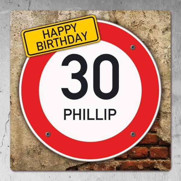 PVC Schild zum Geburtstag mit Alter und Name