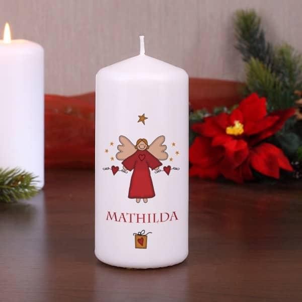 stumpenkerze zu weihnachten mit engel und wunschname. Black Bedroom Furniture Sets. Home Design Ideas