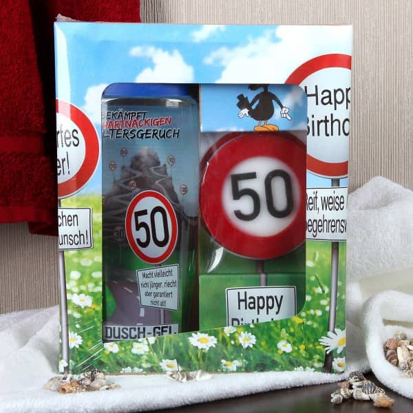 lustiges Geburstagsgeschenk Badset Verkehrszeichen zum 50. Geburtstag
