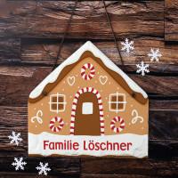 Schiefertafel mit Lebkuchenhaus Motiv und Name bedruckt