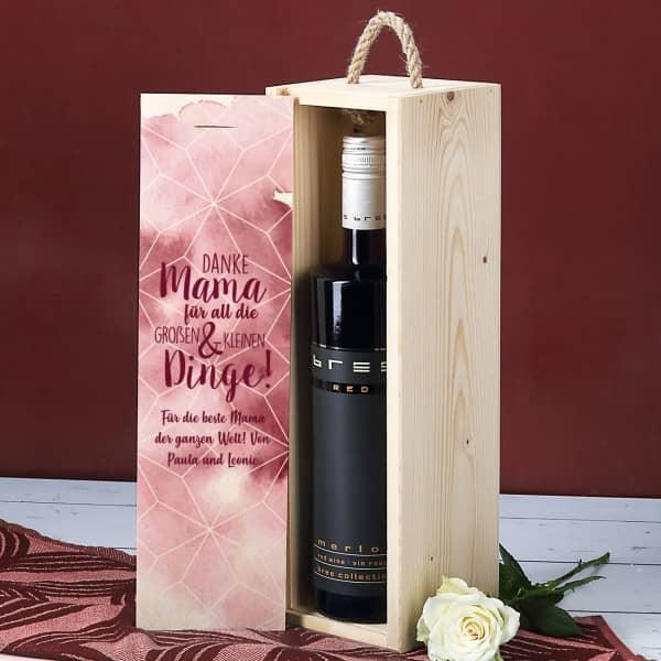 Muttertagsgeschenk - Weinflasche in bedruckter Holzbox mit Ihrem Wunschtext