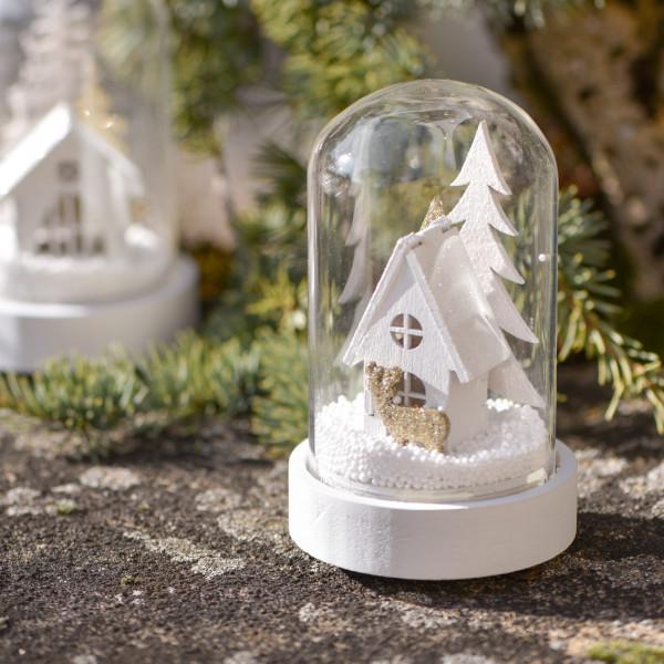 Led deko glasglocke mit winterlandschaft in wei gold - Winterlandschaft deko ...